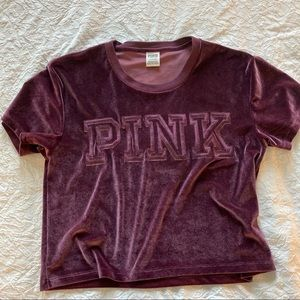 PINK Crop Top Velvet Like